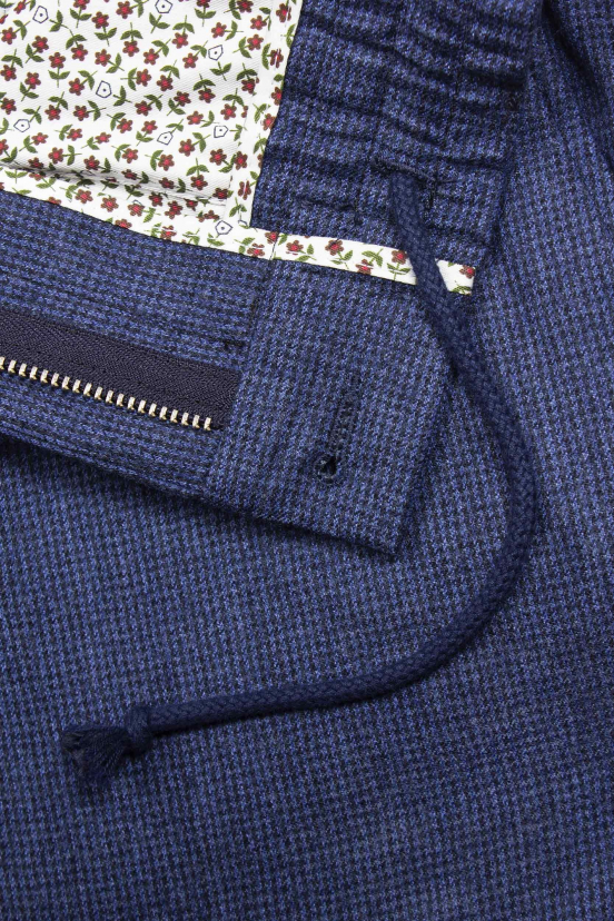 Blue Houndstooth Air Wool Flannel
